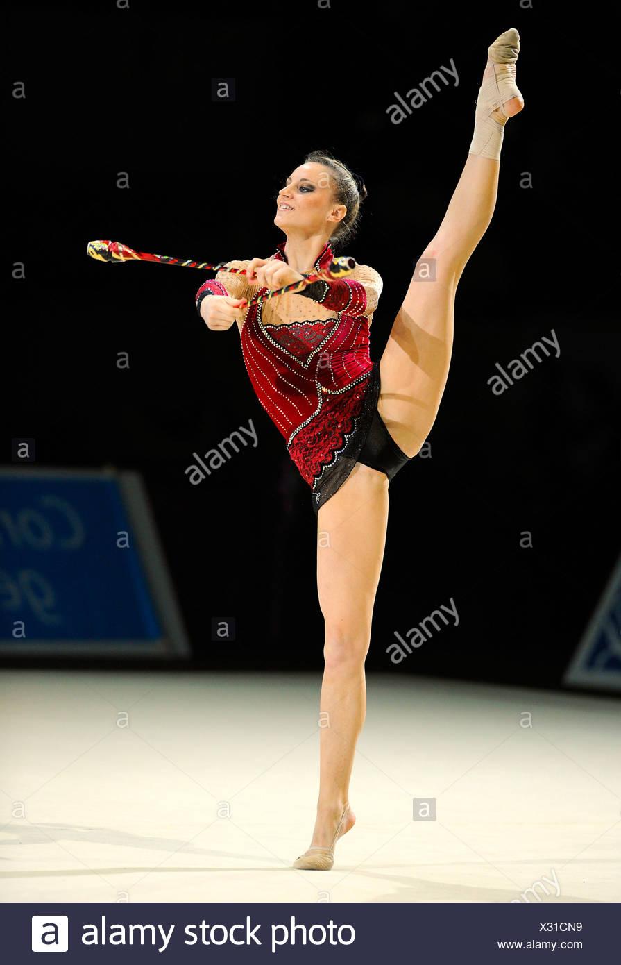 RSG, rhythmic gymnastics, gymnast Delphine LEDOUX, France - Stock Image