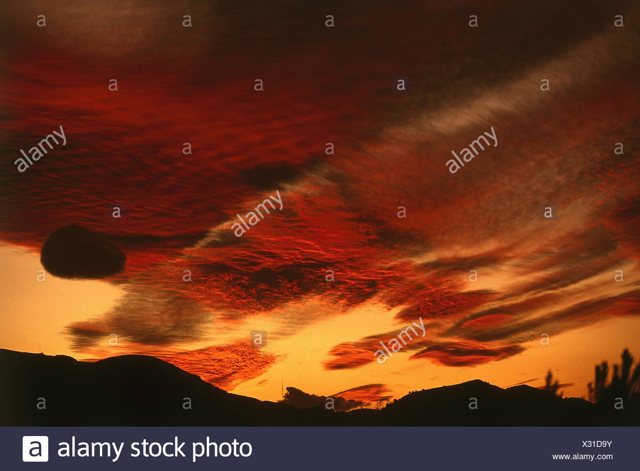 Scenery, afterglow, beautyful clouds, heaven, clouds, light mood, red, evening, - Stock Image