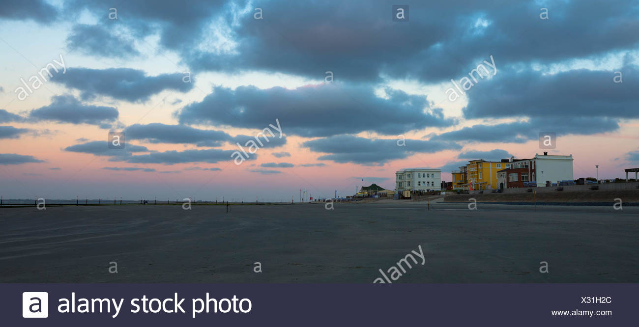Evening mood on a beach on Norderney Island, Germany Stock Photo