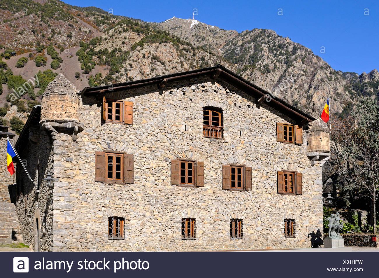 Casa de la Vall, the seat of the Parliament of Andorra, the smallest European Parliament, Barri Antic, Andorra La Vella, Andorra - Stock Image
