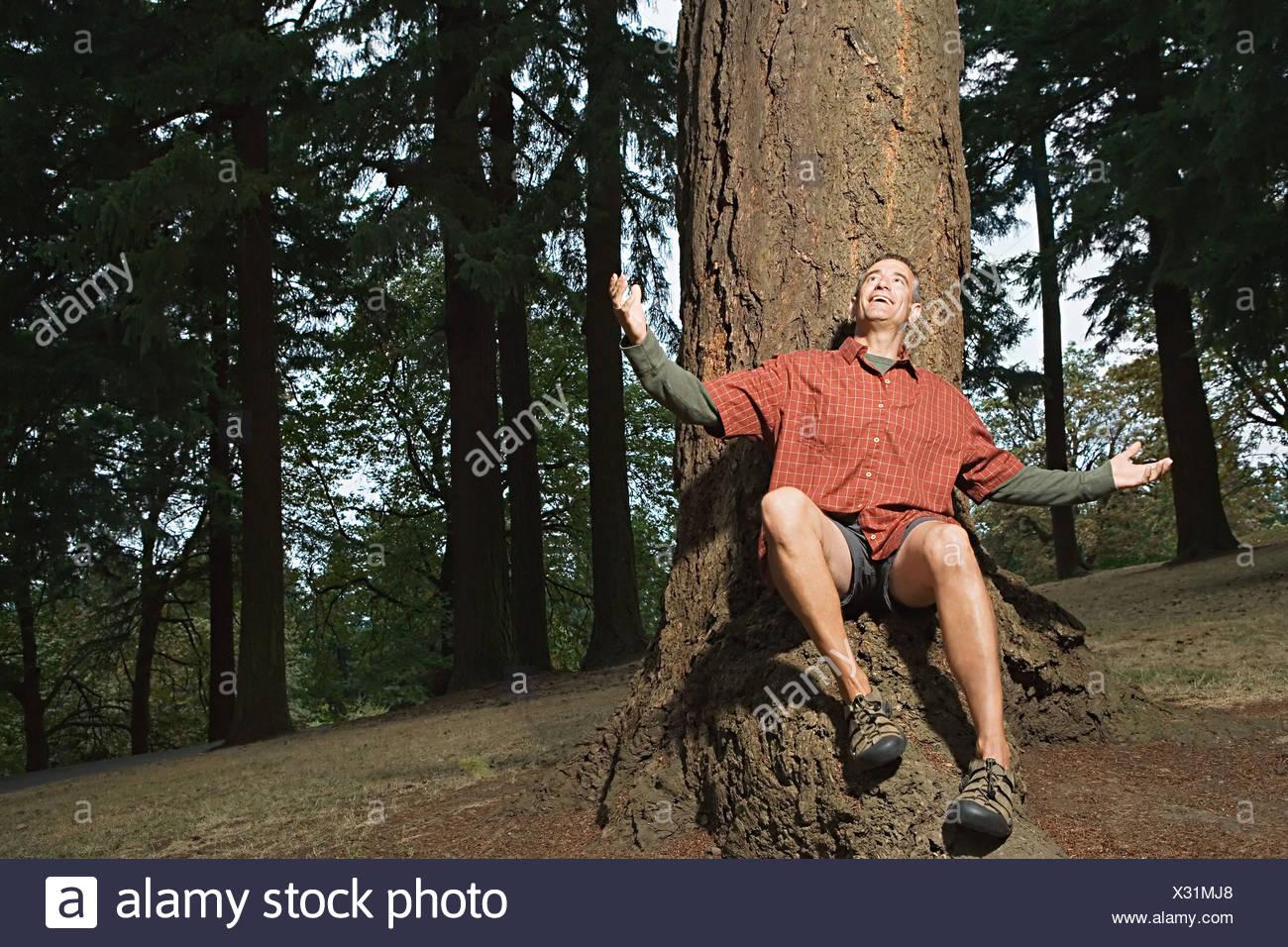 Man in awe of nature - Stock Image