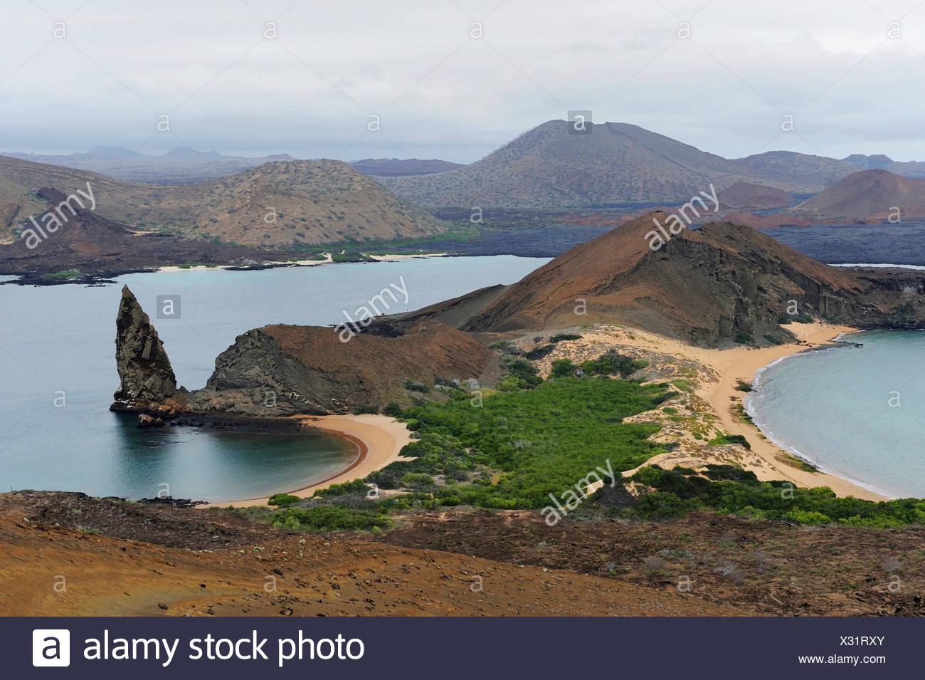Sullivan Bay and Pinnacle Rock, Bartolom Island, Galapagos Islands, Ecuador, South America Stock Photo