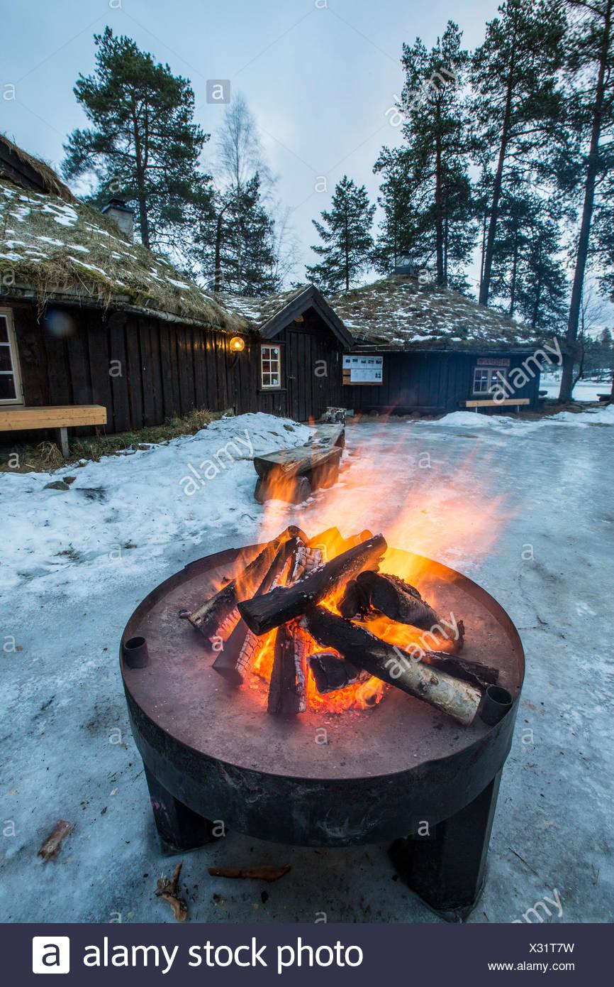 Fireside in Brandheia Wilderness Camp Trøndelag Norway Europe - Stock Image