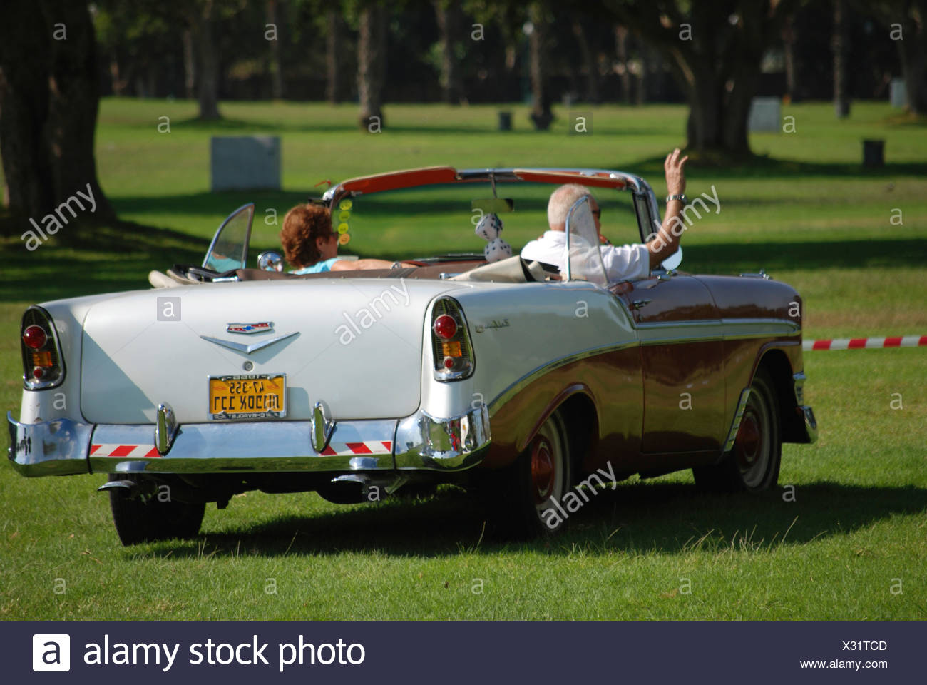 Chevrolet Bel Air Convertible 1956 Rear View   Stock Image