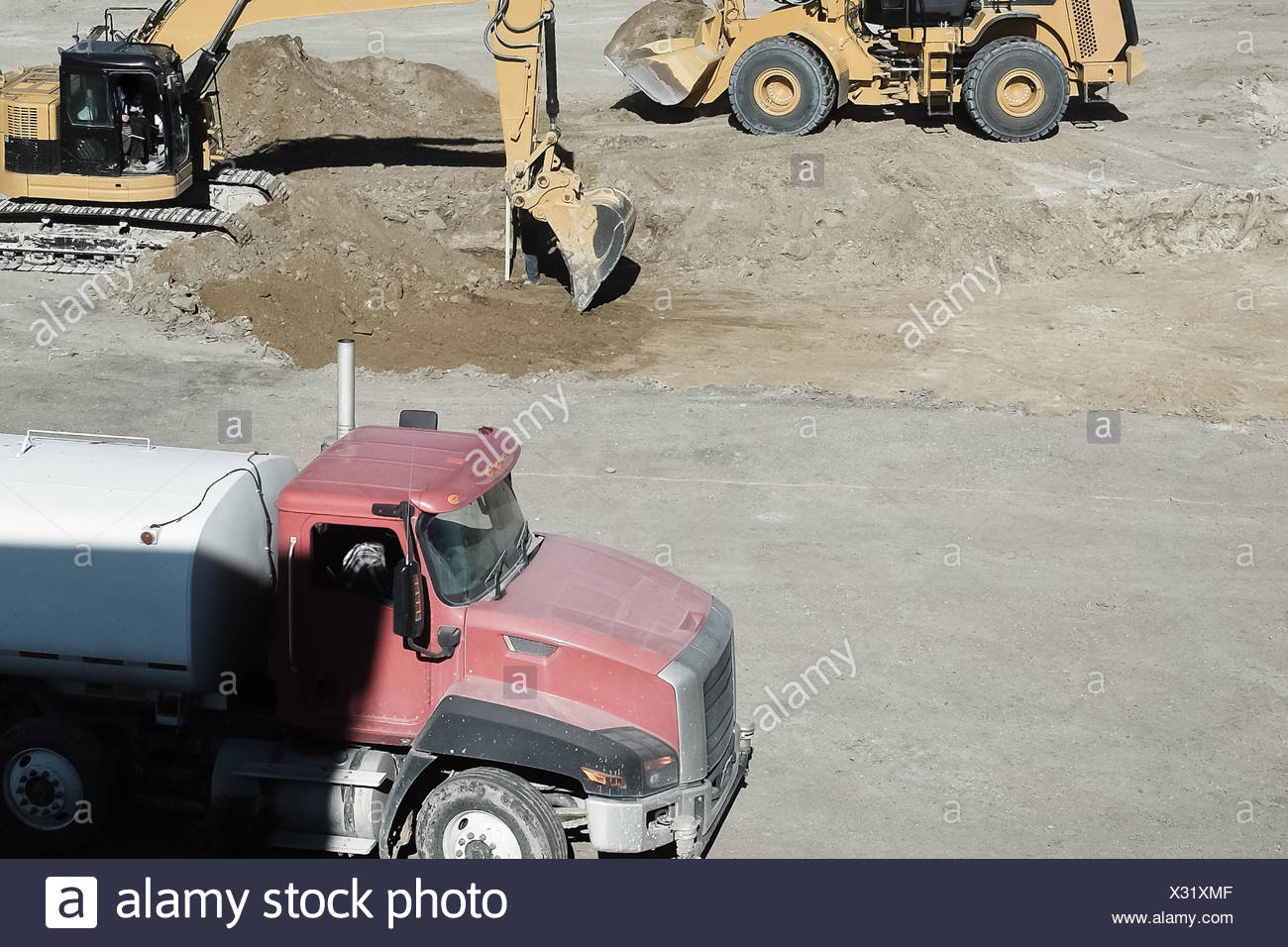 USA, Wyoming, Machinery on construction site - Stock Image