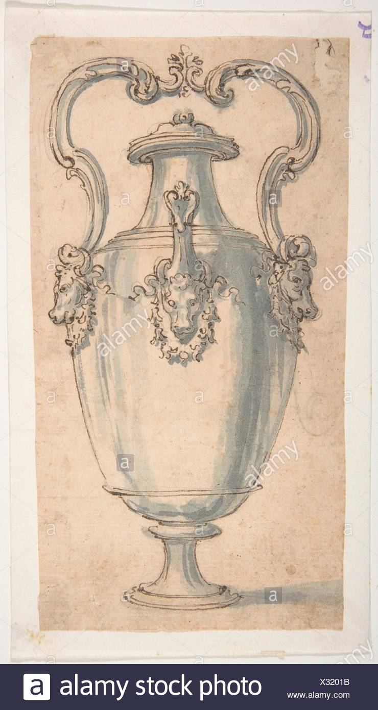 Design for a Ewer with Bull's Heads under the Handels and Spout. Artist: Giovanni Battista Foggini (Italian, Florence 1652-1725 Florence); Date: - Stock Image