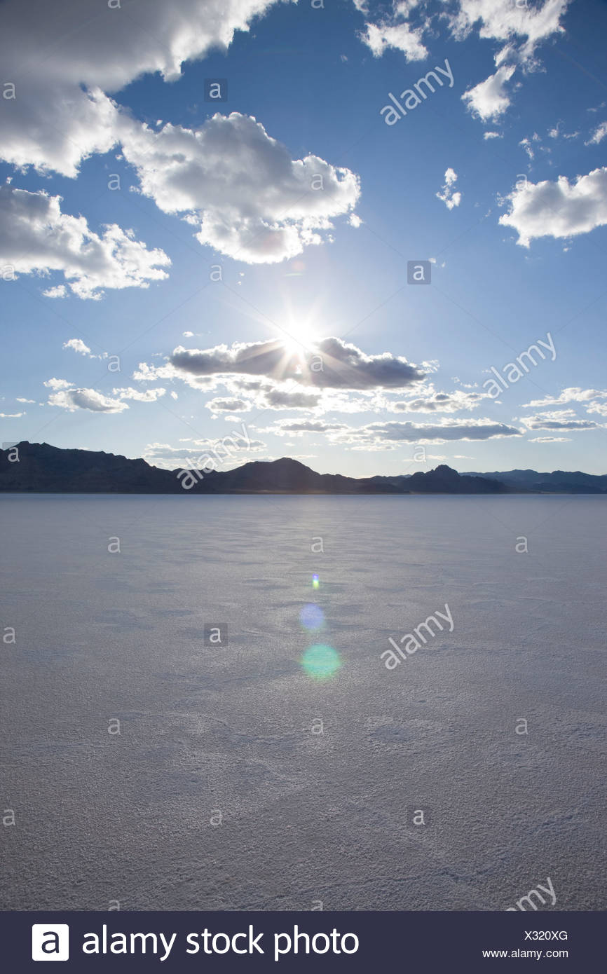sunset over the salt flats - Stock Image