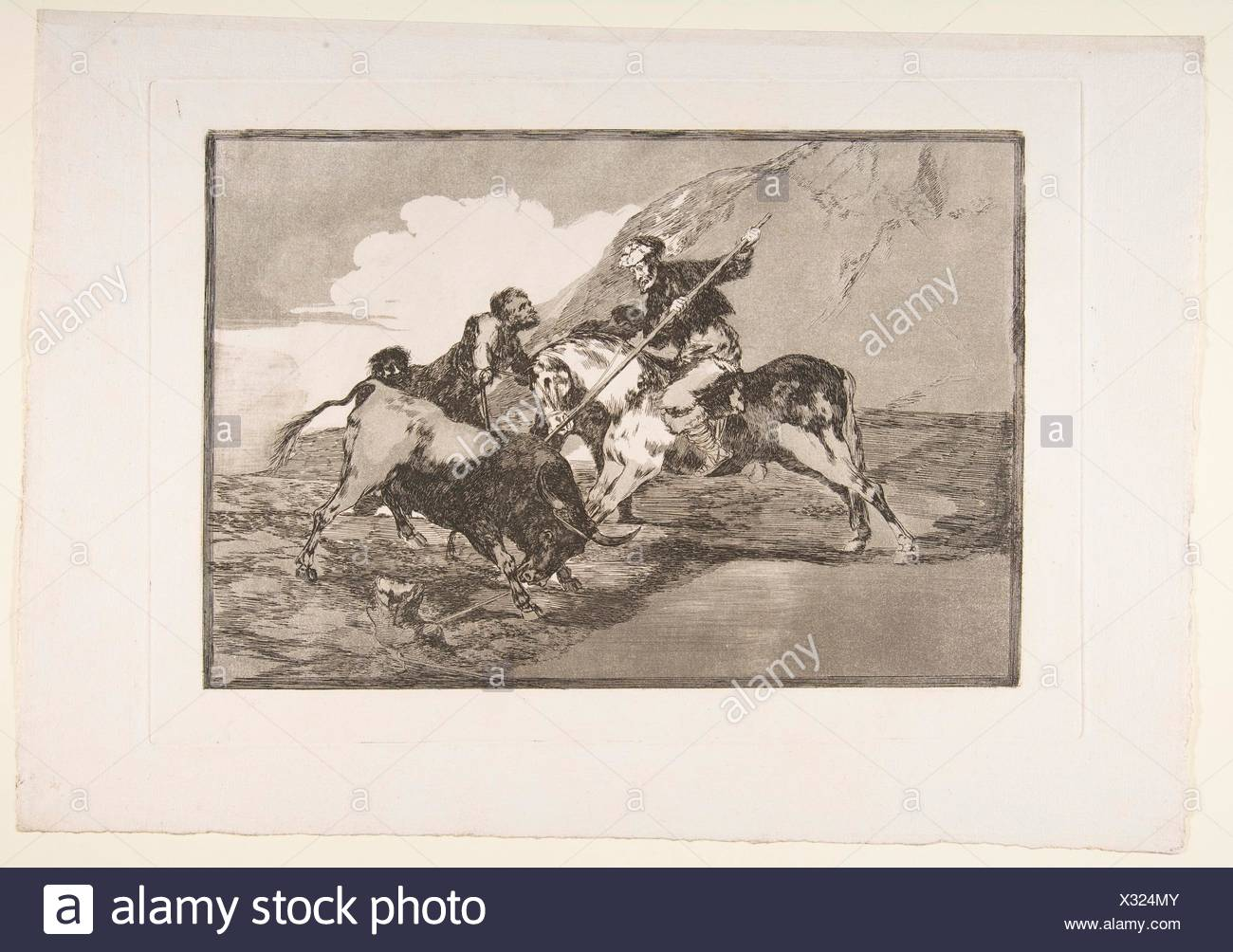 Plate 1 from 'The Tauromaquia': The way in which the ancient Spaniards hunted bulls on horseback in the open country. Series/Portfolio: La - Stock Image