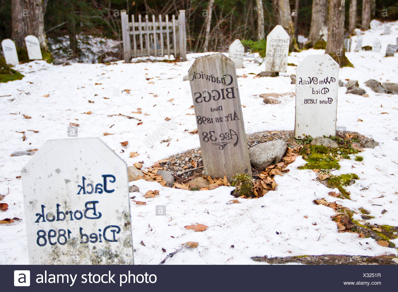 Snow covers a cemetery for Gold Rush related deaths. - Stock Image