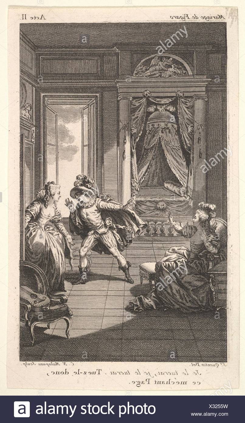 A man leans toward a woman standing in a doorway at right, at left a seated woman raises both hands, a canopied bed beyond, from a series of five - Stock Image