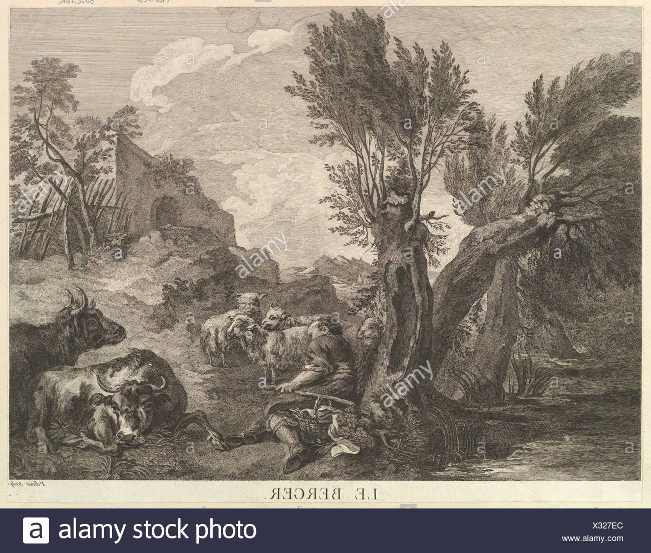 The Shepherd. Artist: Jean Pelletier (French, born Paris ca. 1736); Artist: After François Boucher (French, Paris 1703-1770 Paris); Medium: Etching - Stock Image