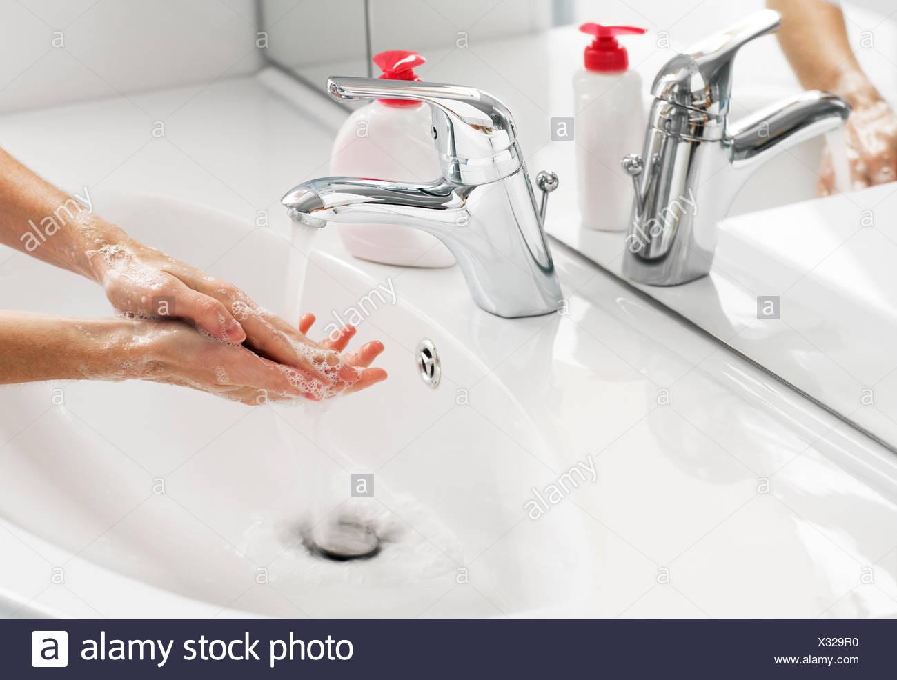 hand wash washing - Stock Image