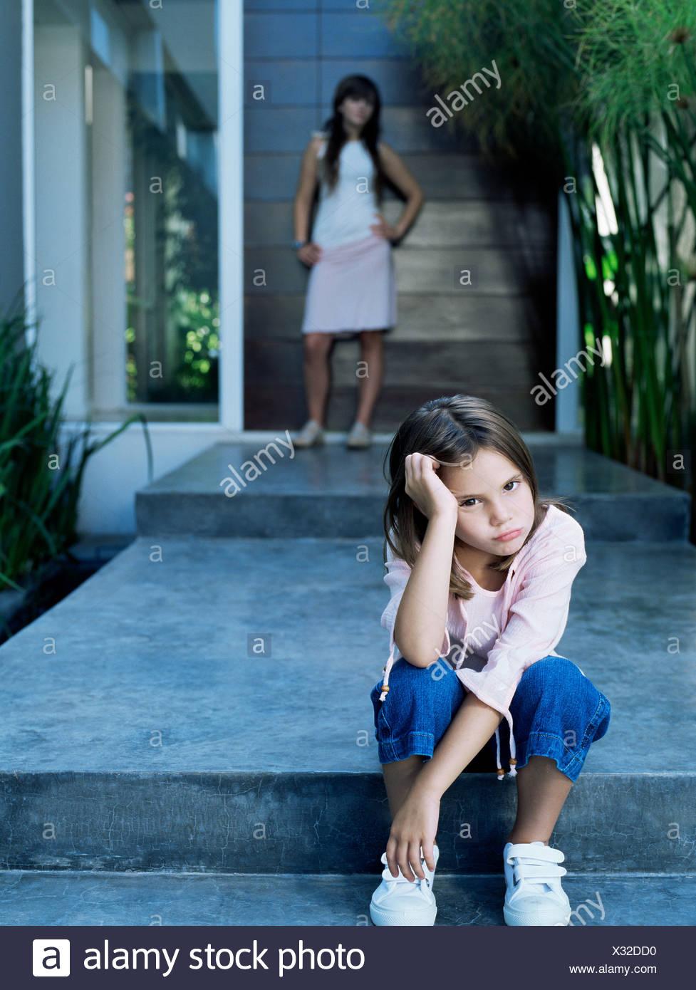 Girl looking sullen - Stock Image