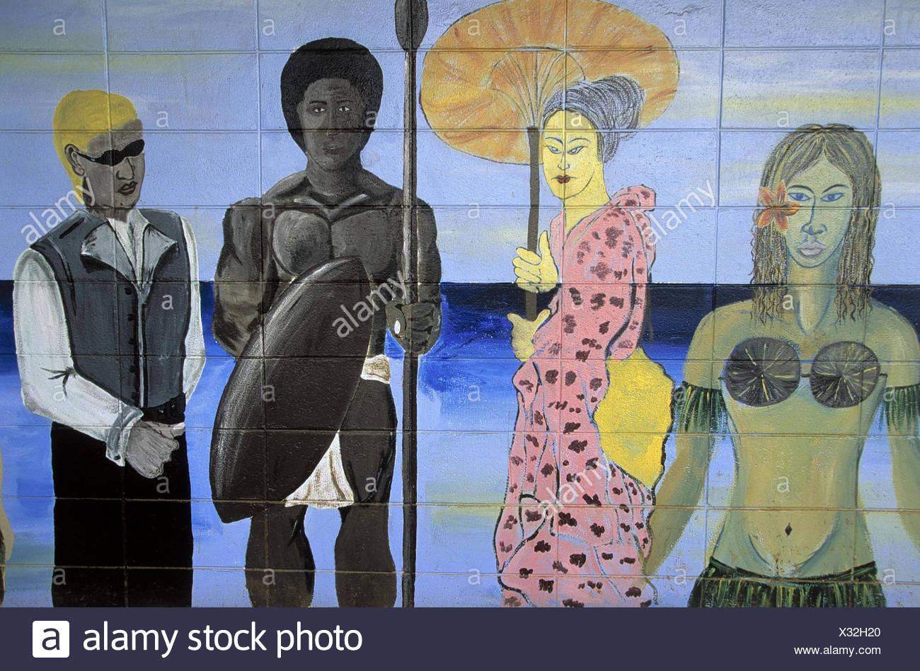 """Fidschi Inseln, Viti Levu, Suva,  Mauer, bemalt, Personen,  Nationalitäten, verschieden Südsee, Insel, Wand, Malerei, Handwerk, Kunst, malen, """"Fijian handicraft Center"""", Kultur Stock Photo"""