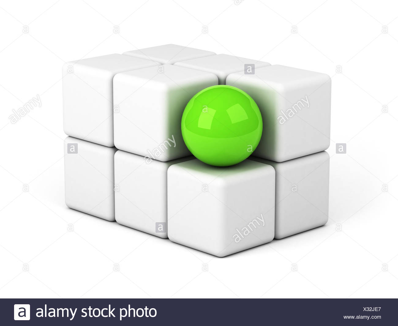 bright green sphere out of the crowd concept - Stock Image