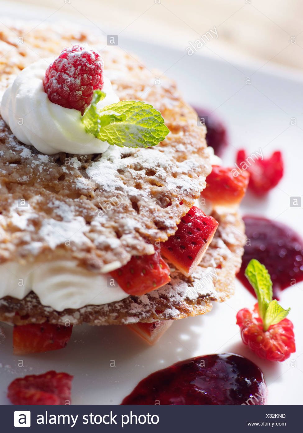 Strawberry and whipped cream Mille-feuille - Stock Image