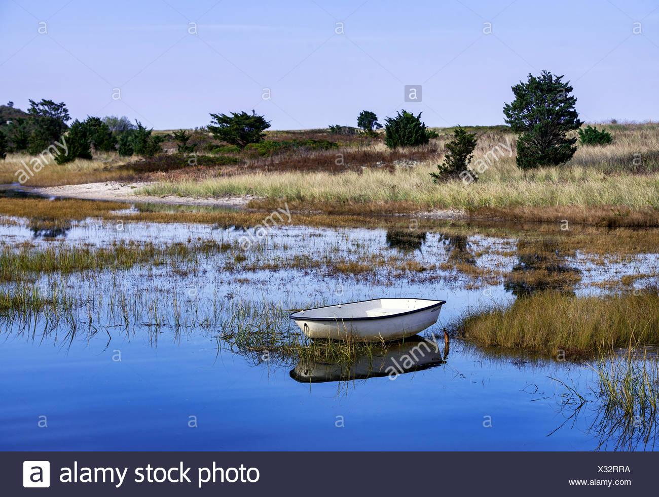 Dinghy anchored in shallow salt pond, Martha's Vineyard, Massachusetts, USA - Stock Image