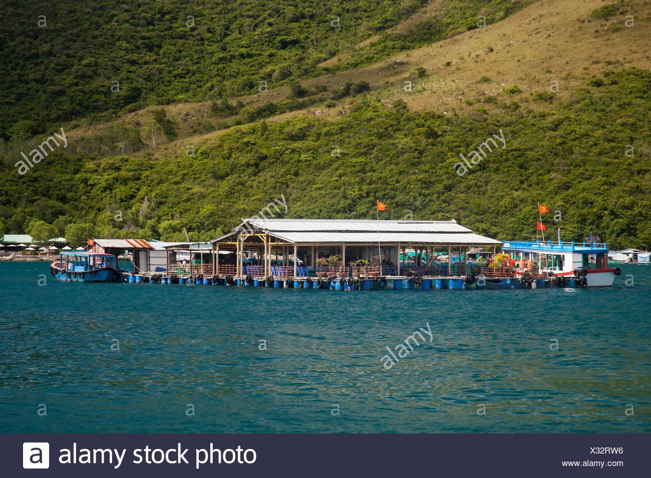 Bay, Vinpearl, island, South China Sea, sea, Asian, Asia, outside, mountains, mountainous, landscape, island, scenery, Nha, Trang - Stock Image