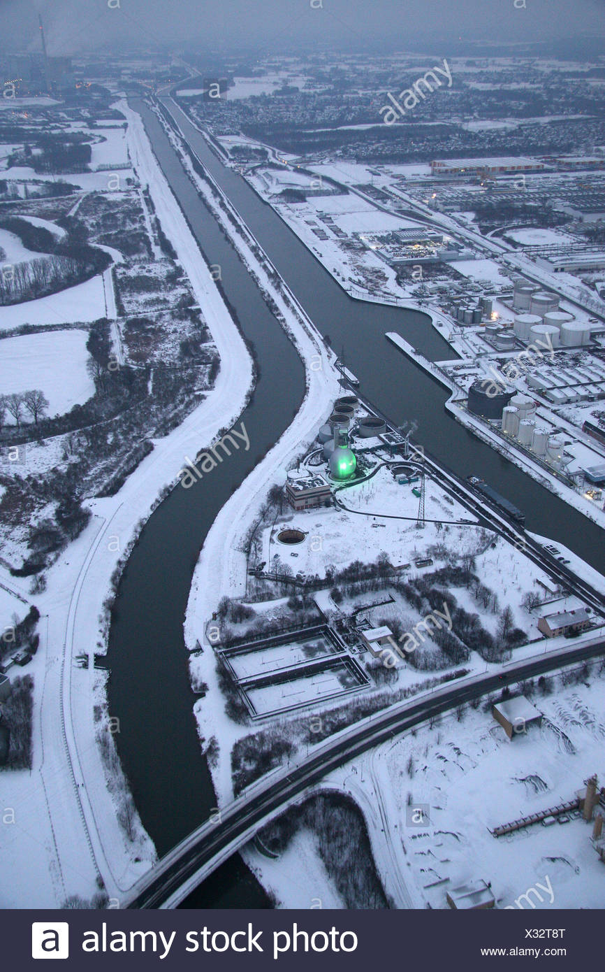 Aerial, Datteln-Hamm Canal in the snow, Lippe River, Lippe treatment plant, Hamm, Ruhr area, North Rhine-Westphalia, Germany, E - Stock Image