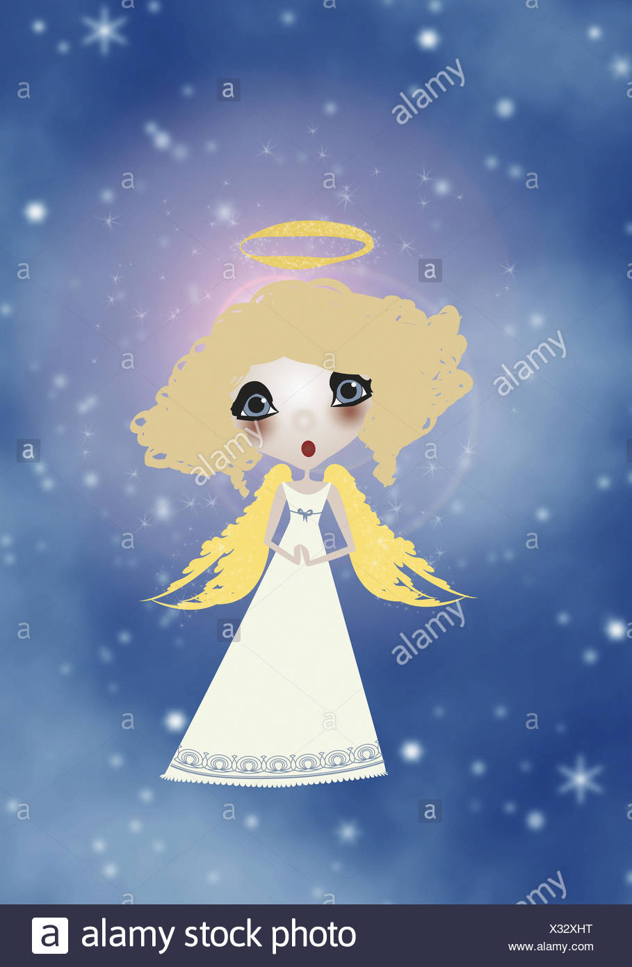 Illustration, sky, angel, blond, sing, graphics, stars, celestial body, figure, little angel, infant Jesus, for Christmas, heavenly, holy, halo, wing, fly, song, music, astonished, whole body, - Stock Image