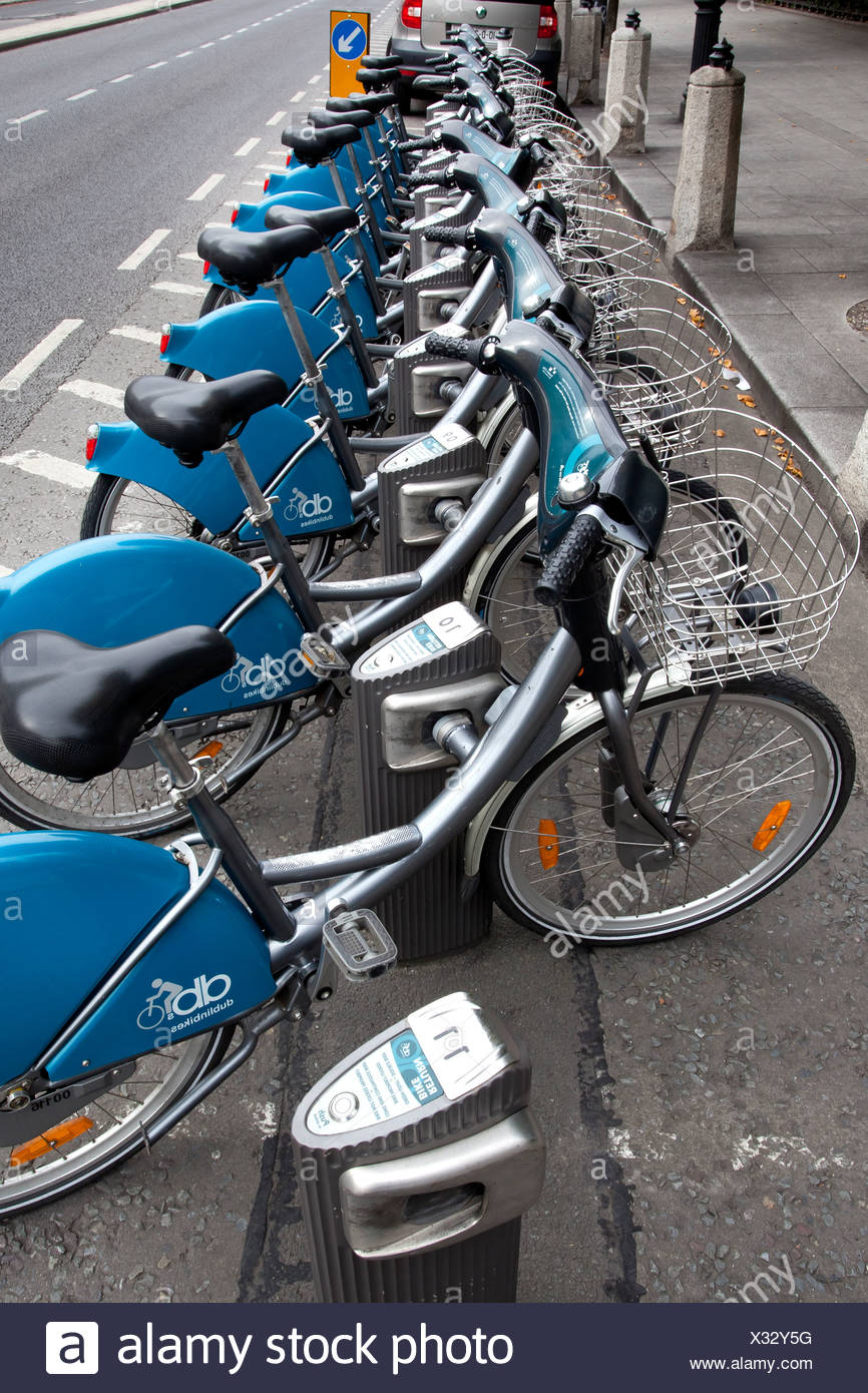 Rental bikes at one of the stations of Dublinbikes, Dublin, Ireland, Europe - Stock Image