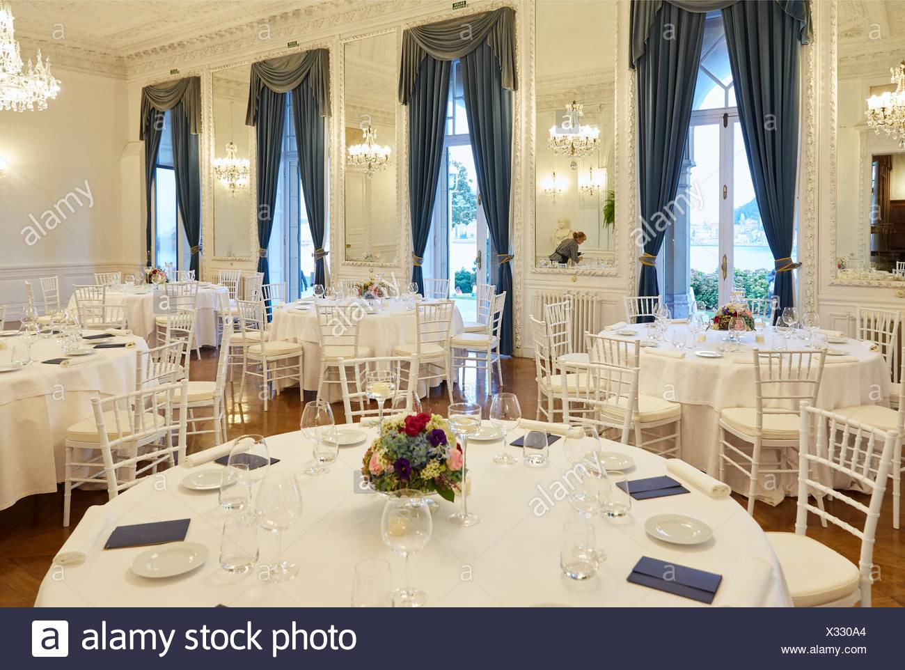 Preparation of tables, restaurant, Event at the Miramar Palace, Donostia, San Sebastian, Gipuzkoa, Basque Country, Spain - Stock Image