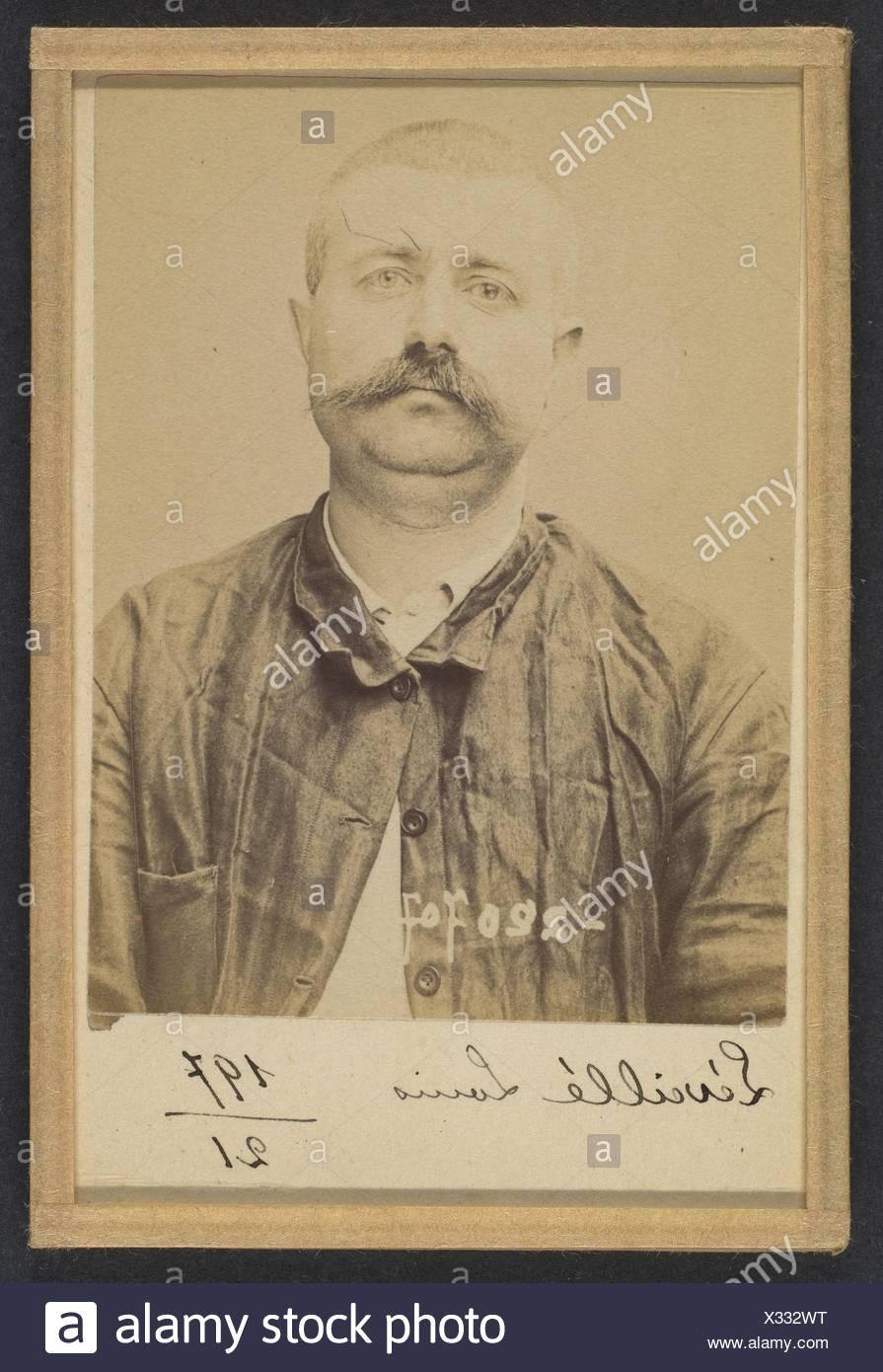 Leveillé. Louis. 37 ans, né le 7/7/57 à Cliche (Seine). Forgeron. Anarchiste. 7/7/94. Artist: Alphonse Bertillon (French, 1853-1914); Date: 1894; - Stock Image