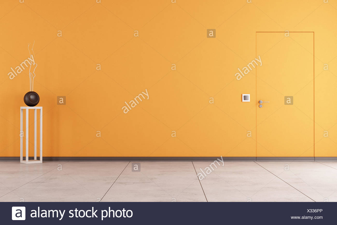 Doors Flush With The Wall In A Empty Orange Room