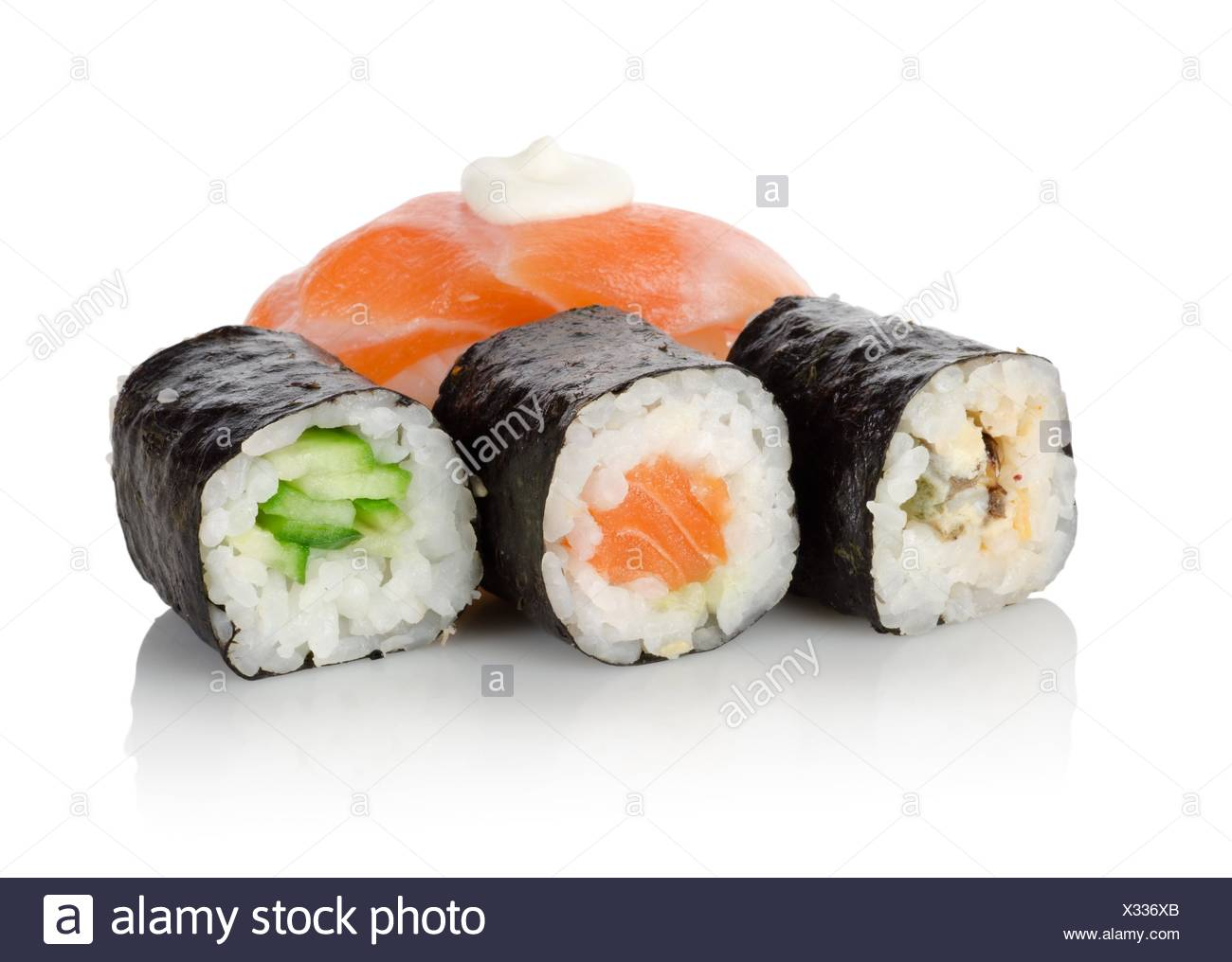 Sushi and rolls isolated on a white background. - Stock Image