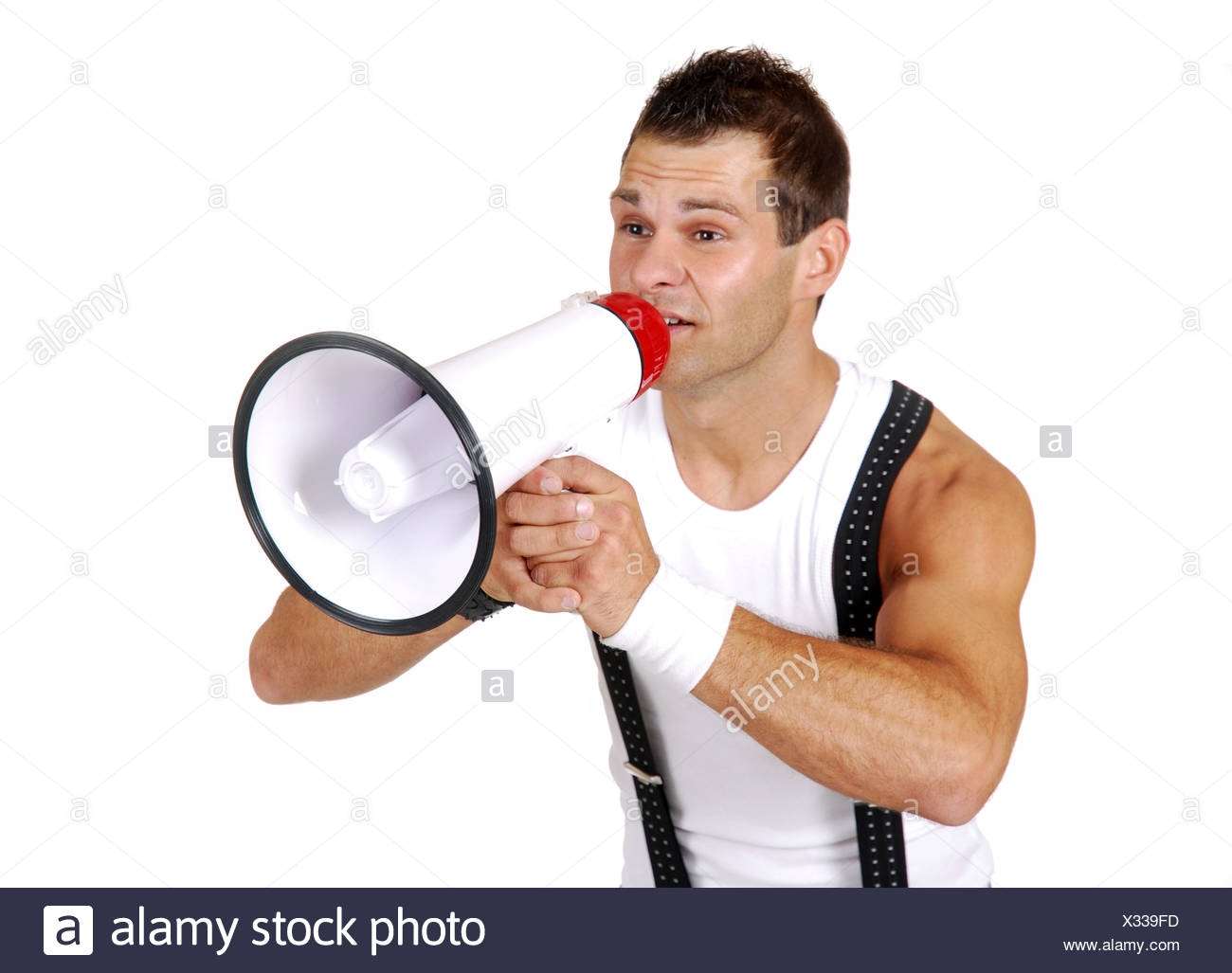 earnest announcement megaphone fire young younger self-confidence - Stock Image