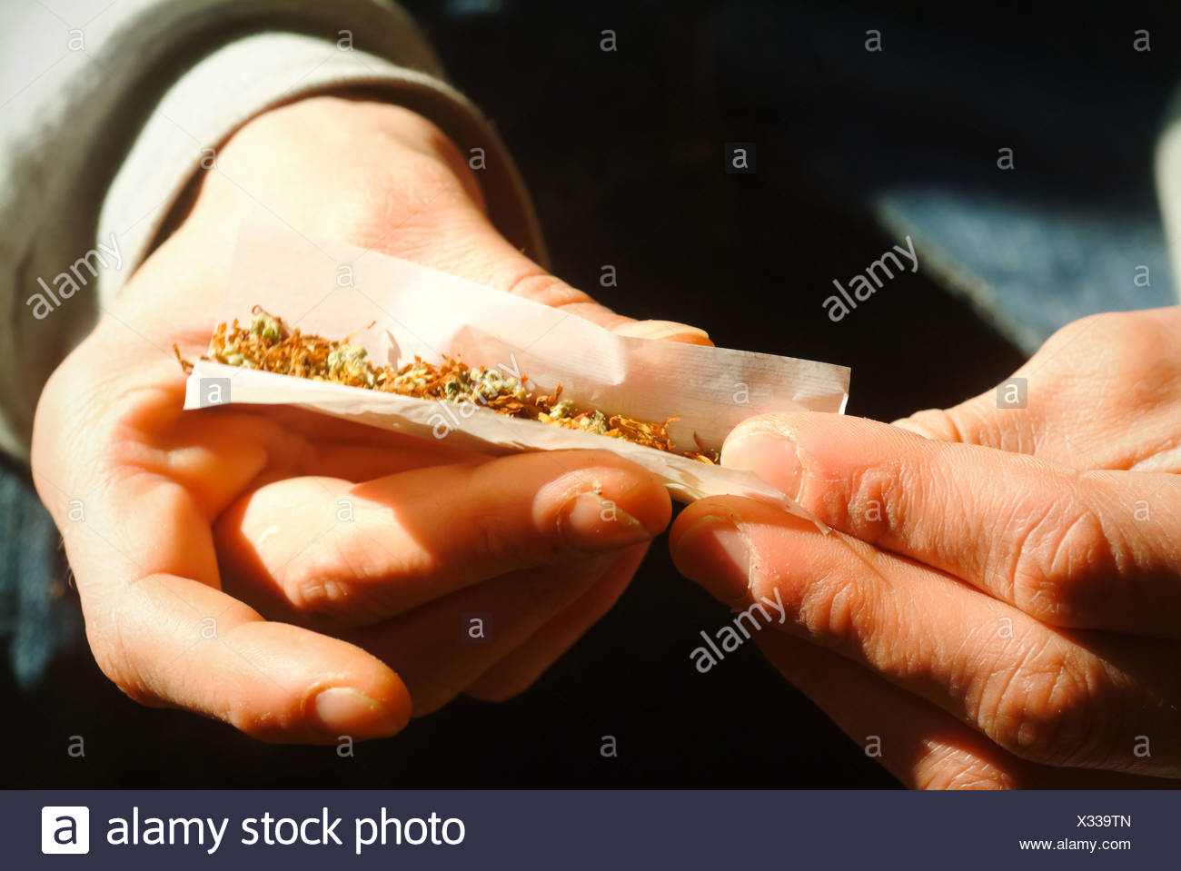 Berlin, Germany, a pothead rotates a joint - Stock Image
