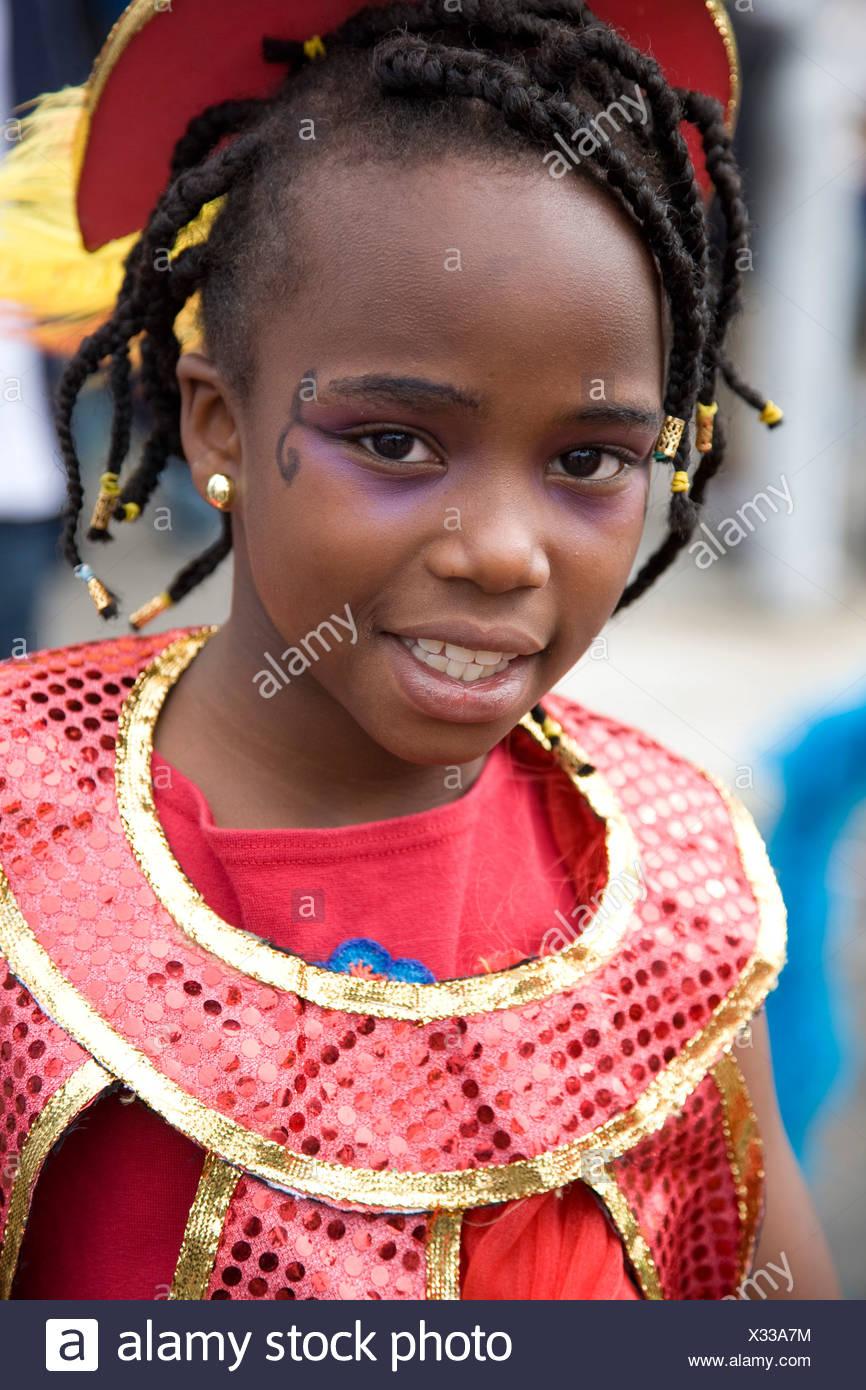 Child in carnival costume. Portrait of little girl. Notting Hill Carnival, Notting Hill. London. England. UK. - Stock Image