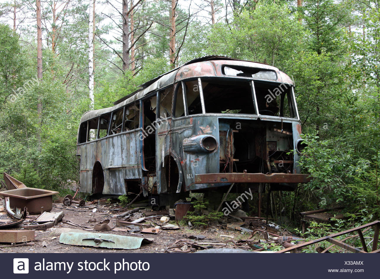 bus wreck - scap motorcar vehicle - junkyard Stock Photo: 277284138 ...