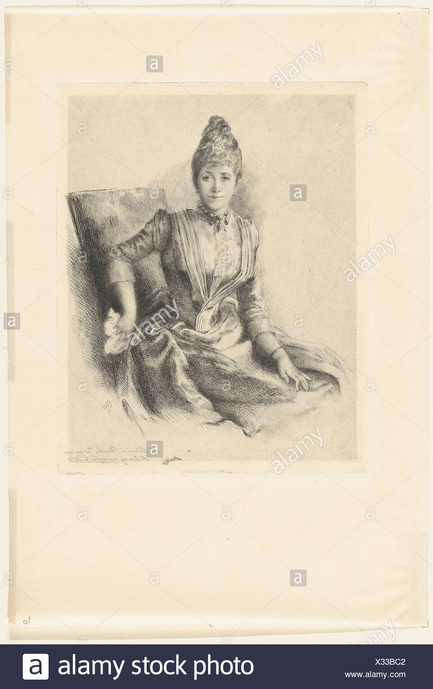 Portrait of Mlle Quivoron. Artist: Marie Bracquemond (French, 1841-1916); Date: 1860-1914; Medium: Etching; Dimensions: Sheet: 15 3/8 x 10 7/16 in. - Stock Image