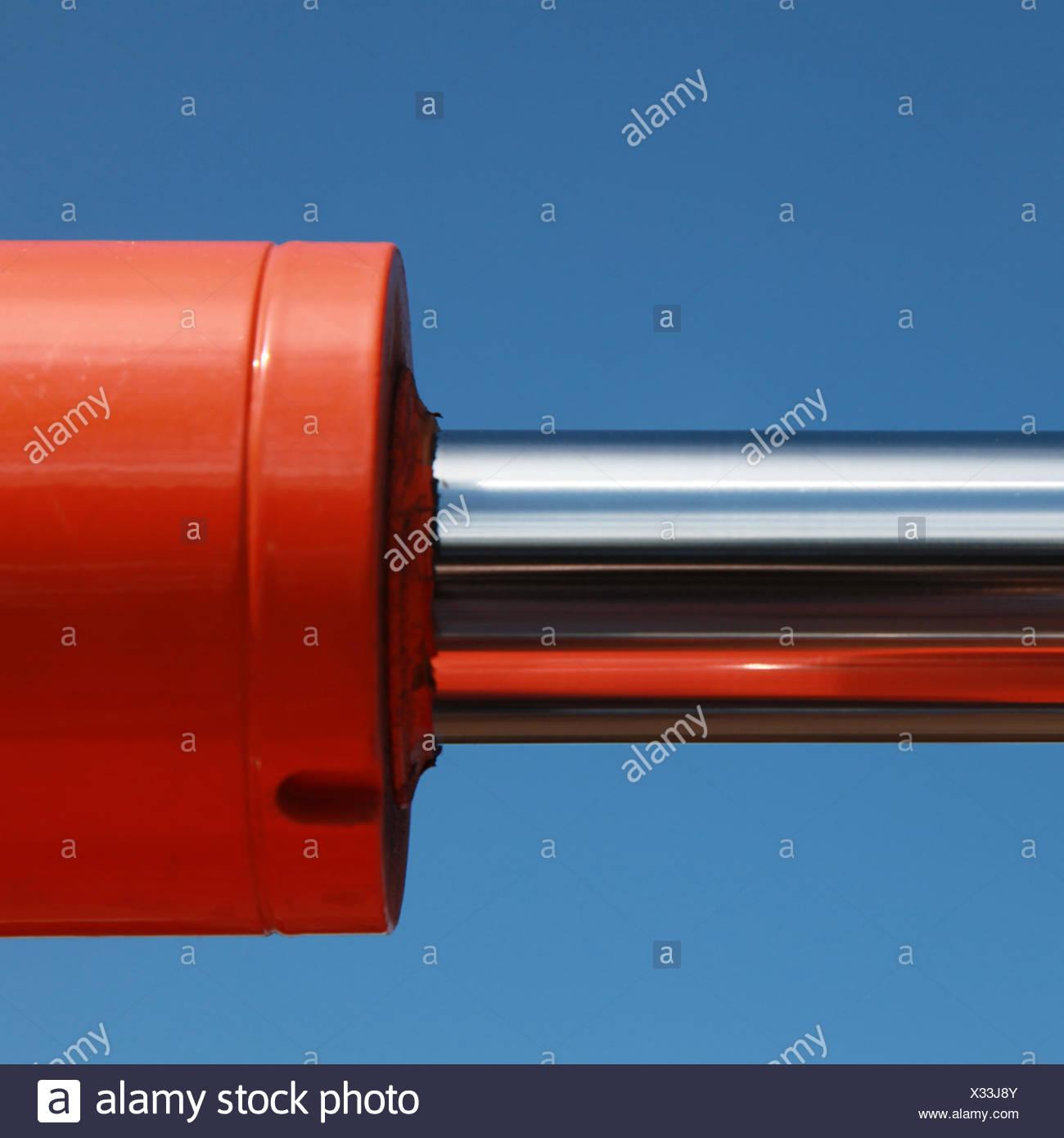 Hydraulische Teile an einem Bagger - Stock Image