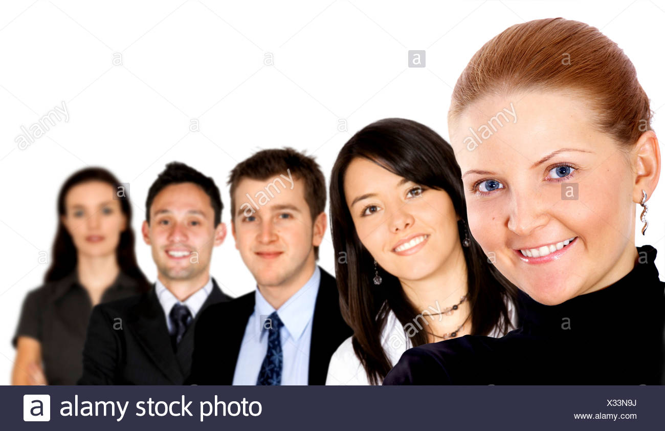 group of diverse business people smiling - Stock Image