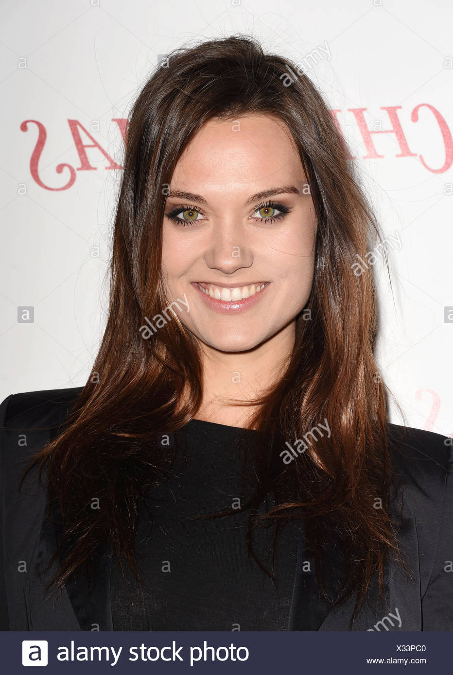 Model Laura James arrives at the premiere of Unstuck's 'Christmas Eve' at the ArcLight Hollywood on December 2, 2015 in Hollywood, California., Additional-Rights-Clearances-NA - Stock Image