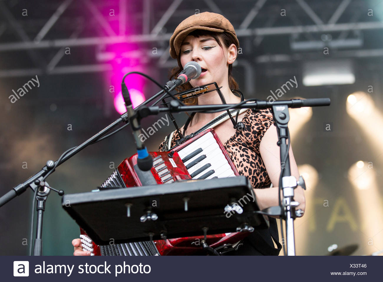 Anne Marit Bergheim with an accordion from the Norwegian girl band Katzenjammer performing live at Heitere Open Air in Zofingen - Stock Image