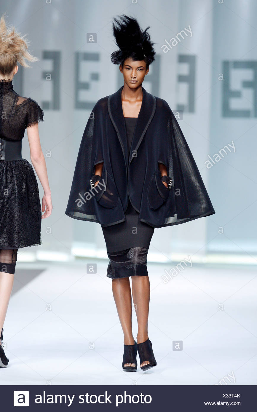e64467fe642 Fendi Milan Ready to Wear Spring Summer All Black caped coat over black  dress
