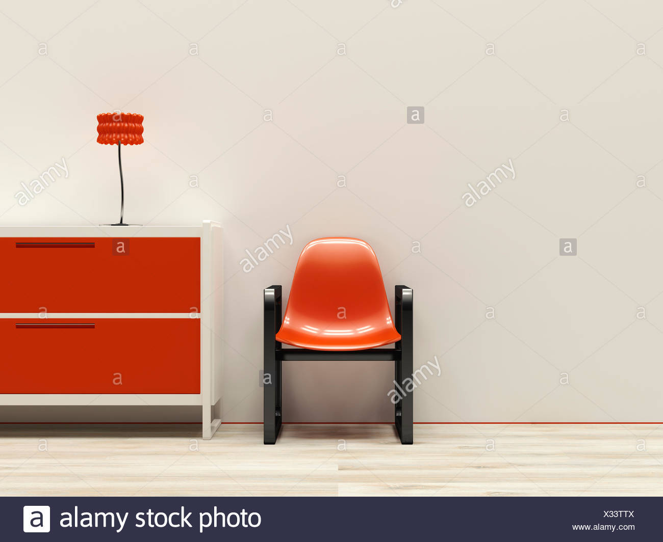 Red retro style interieur, 3D Rendering - Stock Image