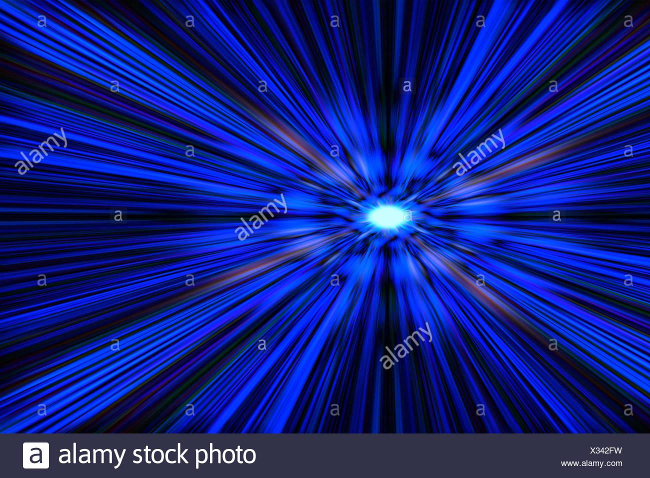 Blue Flash Explosion On A Black Background Stock Photo Alamy