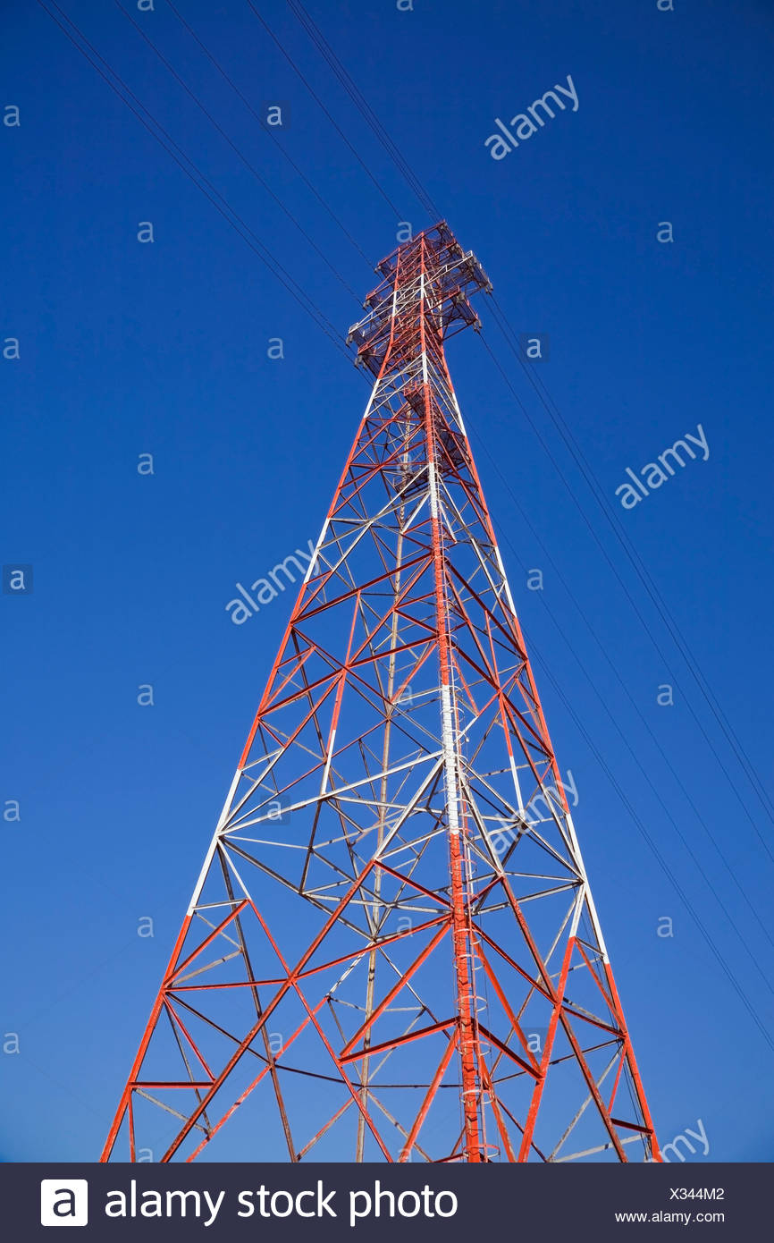 Electricity Transmission Tower, Montreal, Quebec, Canada - Stock Image