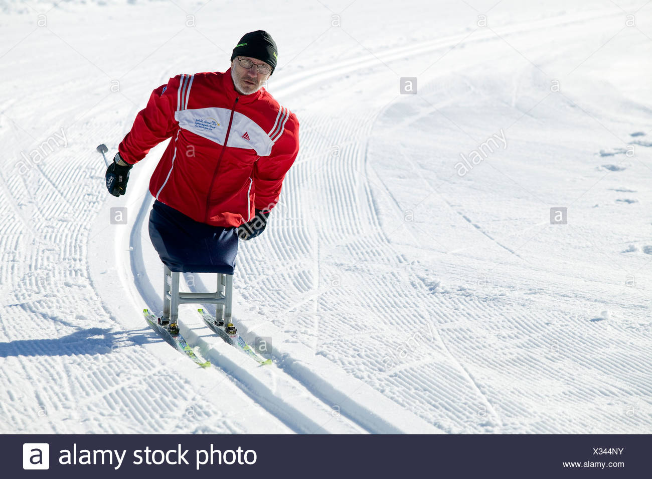 IPC Paralympic athlete warming up for upcoming cross country ski race.  Mt Washington, Vancouver Island, british Columbia, Canad - Stock Image