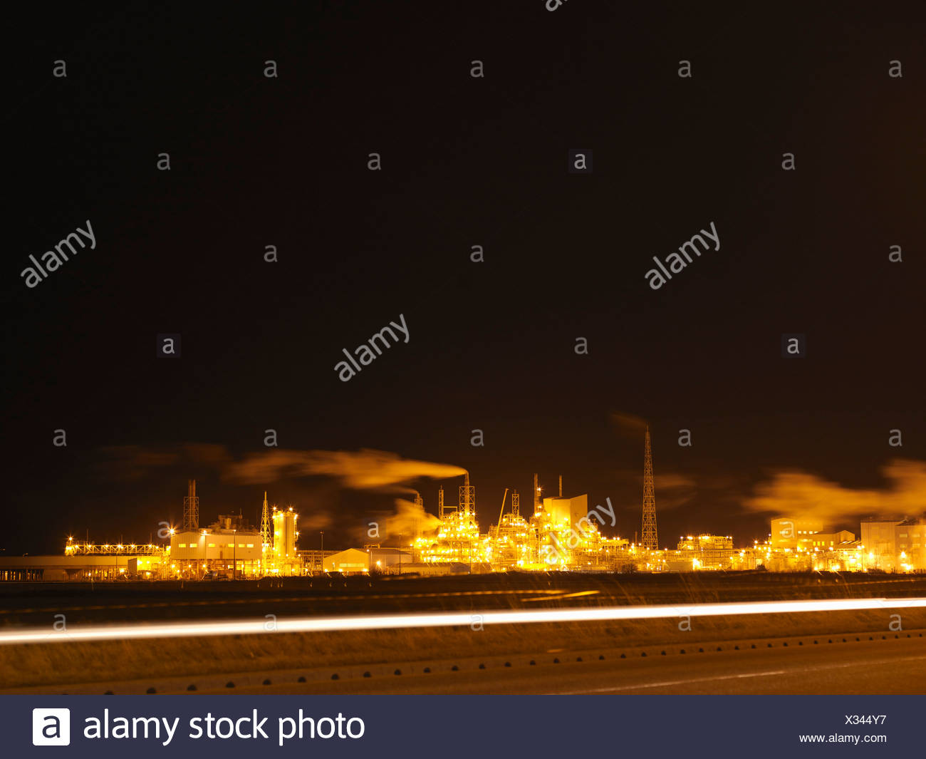 Industrial Port At Night - Stock Image