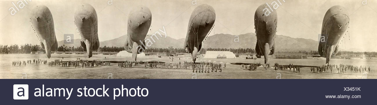 Six dirigibles ready for flight at the U.S. Army Balloon School. - Stock Image