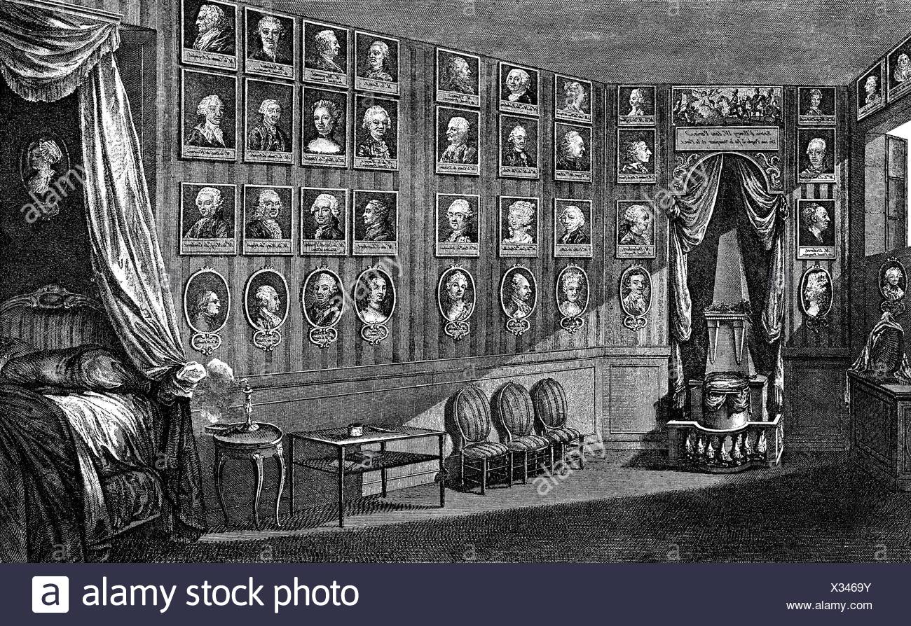 Voltaire, (Francois Arouet), 21.11.1694 - 30.5.1778, French philosopher, his favourite room at castle Ferney on Lake Geneva, after drawing by Duche, copper engraving, by Francois Denis Nee(1732 - 1817), 1781, , Artist's Copyright has not to be cleared - Stock Image