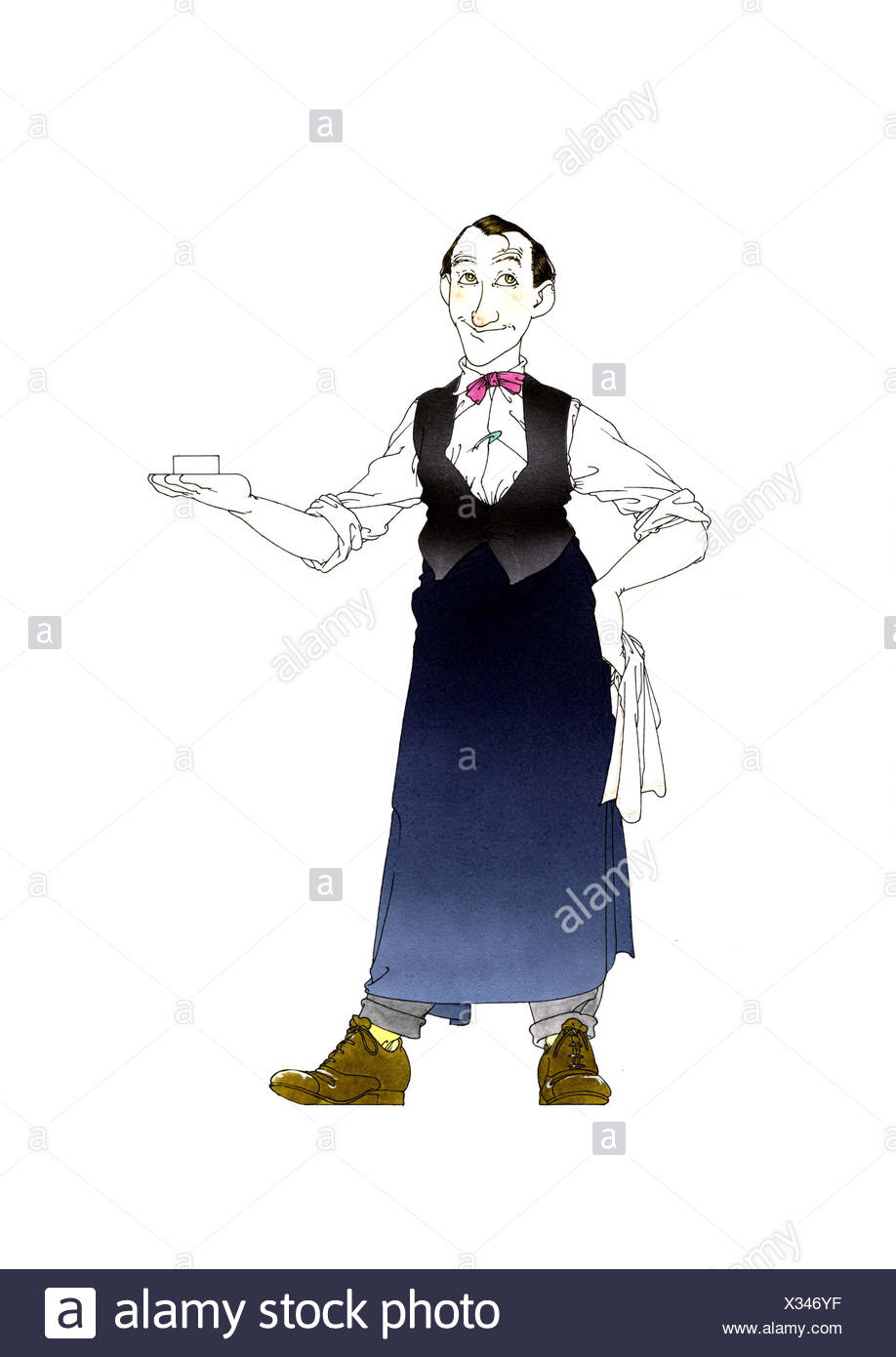 Wine waiter with waistcoat, apron and bow-tie - Stock Image