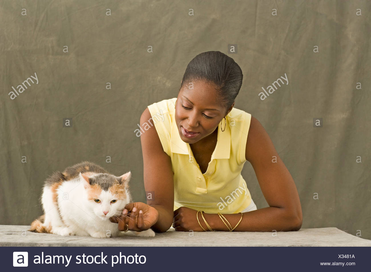 Young woman petting cat - Stock Image