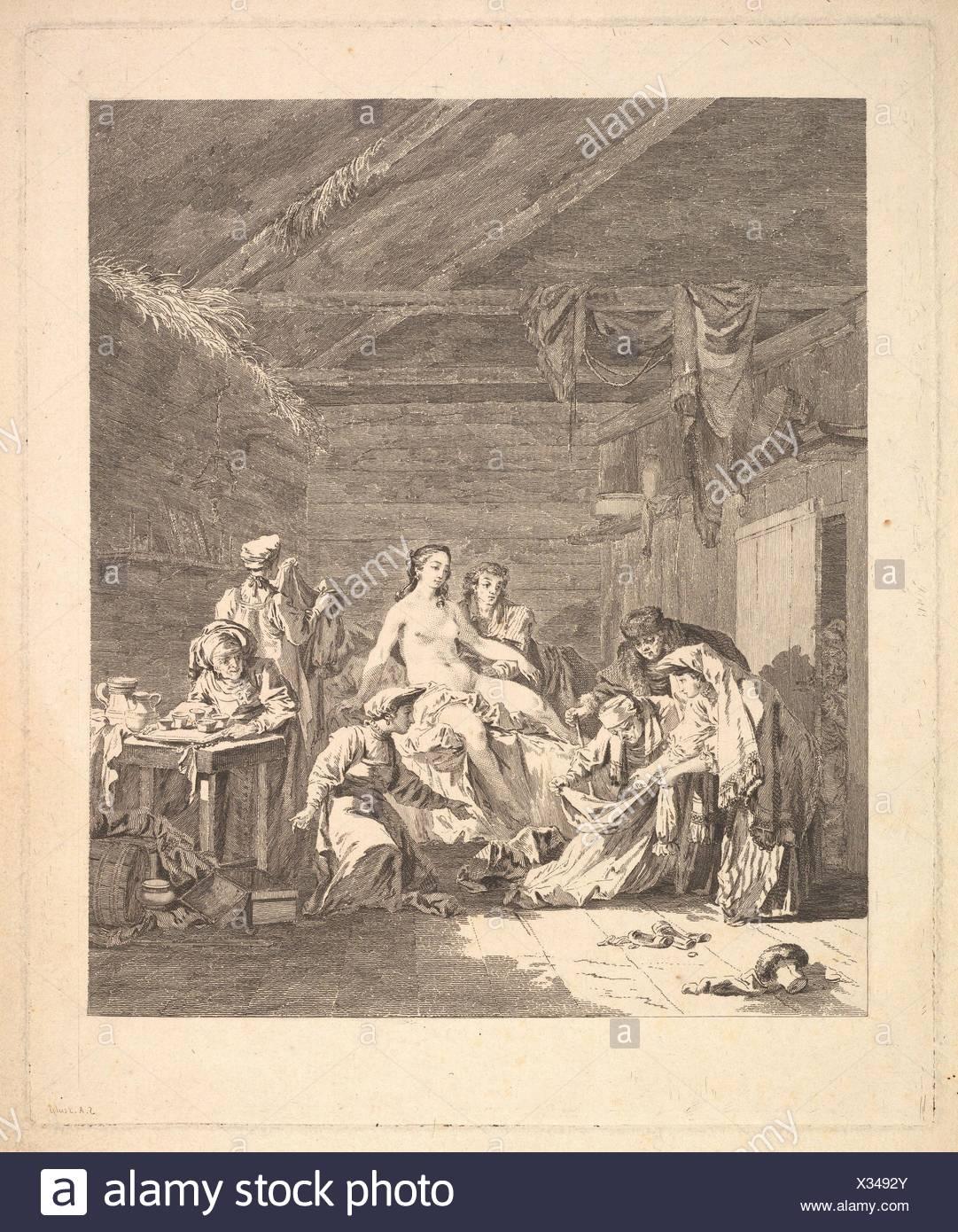 Vignette of the first volume, page 165: Usage des Russes après le Mariage et avant la Noce, from Voyage en Sibérie fait par ordre du Roi en 1761 [.], - Stock Image
