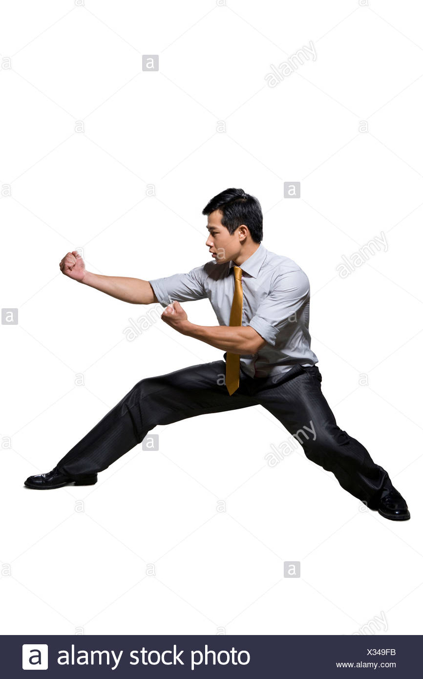 Businessman In Martial Arts Fighting Stance Stock Photo Alamy